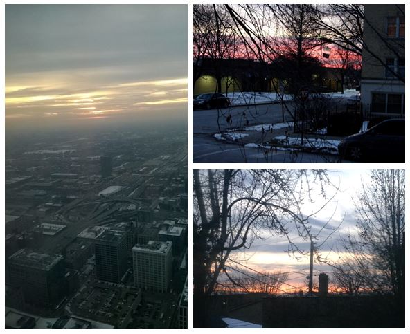 Jan 28, 5pm sunset. Clockwise from left: Scott Kroll, Catherine Murphy, and Erin Rensink.