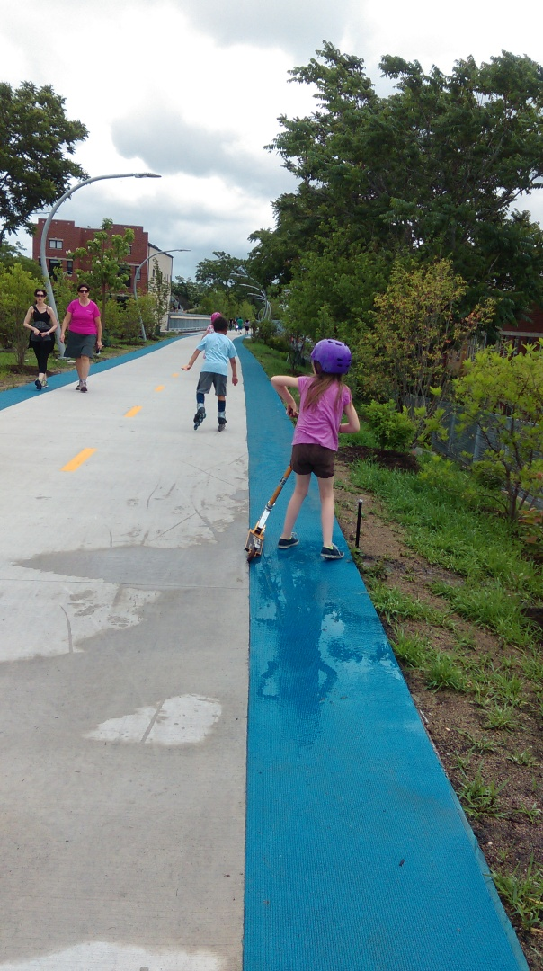 My son, (blue shirt) loves rollerblading up here and has promised to help me train.