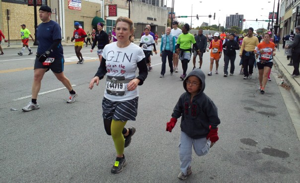 My son gave me a boost towards the end of my first marathon.